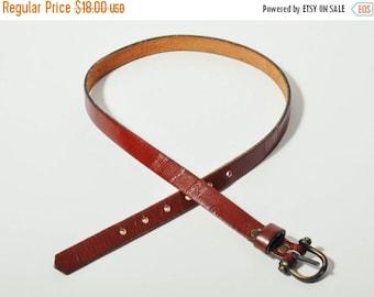 ON SALE Dark Brown Skinny Leather Belt