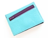 Custom Womens Leather Wallet, Personalized Womens Wallet, Small Leather Trifold Wallet, Zipper Wallet, The Frances Wallet in Light Turquoise