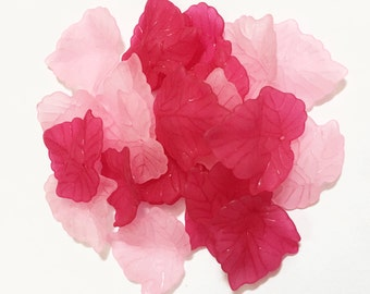 80 pcs of  Frosted Acrylic leaf drops 24x22mm - Assorted Pink fun pack