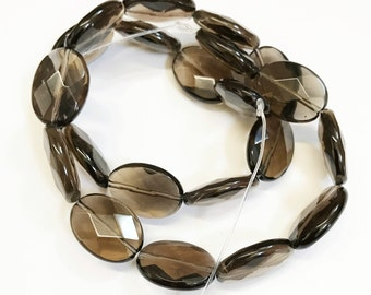 16 in Strand of Natural Smoky quartz faceted flat oval beads 13X18mm