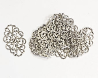 100 pcs of  antiqued Silver plated brass  filigree oval 20x30mm, bulk antique silver filigree
