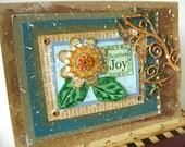 Card Stamped mixed media JOY Birthday - kitsnbitscraps