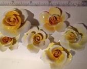 6 Vintage Mosaic Supply China Yellow Porcelain Roses
