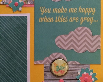 You Make Me Happy Scrapbook Pages, Girl scrapbook pages, double page spread