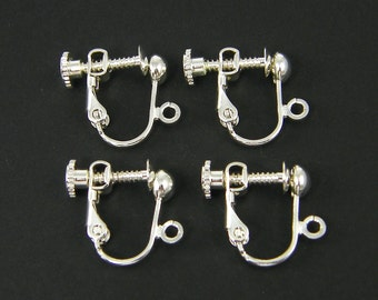 20 Pcs Silver Clip on Earring Findings Bright Silver Plated Screw Back with Loop  S10-2 20