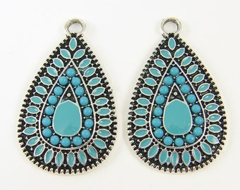 Turquoise Teardrop Earring Findings Aqua Antique Silver Earring Dangles Boho Earring Component Jewelry Drop Pendant Charm |B1-2|2