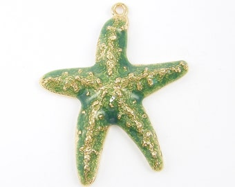 Starfish Necklace Pendant Large Green Gold Dimensional Seafoam Nautical Beach Jewelry  GR3-6 1