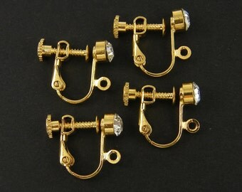 Clear Rhinestone Clip on Earring Findings Round Gold with Loop Dressy Special Occasion Wedding Jewelry Bridal Earring Findings |G11-3|2pair