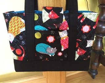 Aunt Roo's Knitty Kitty Machine Quilted Handbag ONE-of-a-KIND