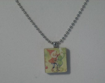 Dancing gnome and frog Scrabble tile resin necklace