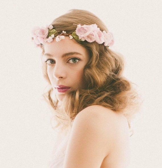 Lavender Flower Crown, Purple floral wreath, Bridal hair circlet, Plum wedding headpiece, Woodland wedding crown - ESTELLA