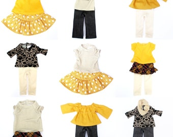 Fits like American Girl Doll Clothes - Golden Autumn Starter Wardrobe, a 10-Piece Set