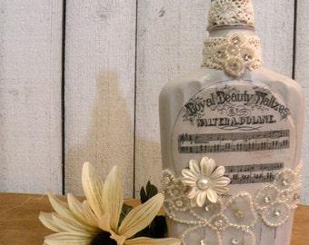 Prairie Farmhouse altered art bottle Vintage Music ECS svfteam RDT FVGTEAM