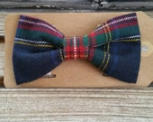 1/2 OFF Plaid Flannel Bow Tie Navy Blue and Red