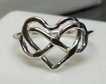 Infinity Heart Ring, Eternity Jewelry, Lovers Heart Ring, Fine Silver, Rustic, US Size 7 Handmade by Maggie McMane Designs