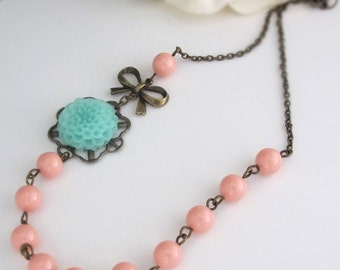 SPECIAL SALE Seafoam Mint Green Pompom Flower Pink Coral Pearls Necklace. Nature Woodlands Romantic Pink Coral Swarovski Pearls Floral Neckl