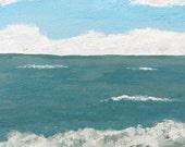 Beach Painting Corpus Christi Travel Art Original Acrylic Painting Ocean Acrylic Seascape Texas Travel Memento by Texas Artist
