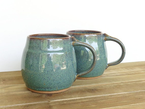Pottery Mugs - Sea Mist Stoneware Ceramic Coffee Cups - Set of 2