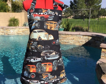 Ready to Ship - Mens Reversible Rat Rods Chef Apron, Great For Grilling, Cooking, Kitchen Apron, Giflt Ideas, Stocking Stuffers