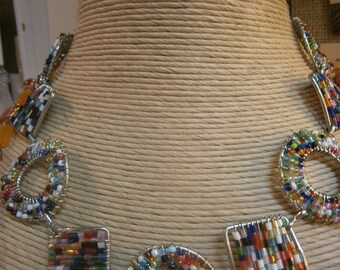 Multi Colored Bead Necklace; Bohemian Necklace; Boho Necklace