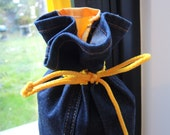 NEW Sunny Yellow Yoga mat bag - upcycled recycled jeans with coloured trim -washable drawstring tube with shoulder strap- OOAK ready to ship
