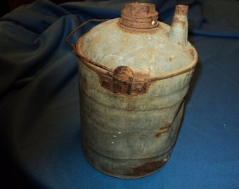 Old Primitive Rusty- Dented- Galvanized- Gallon Gas Can