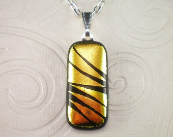 Copper Hand Etched Dichroic Fused Glass Pendant