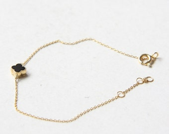 Gold Plated Sterling Silver Chain and Black Stone Bracelet (B80)