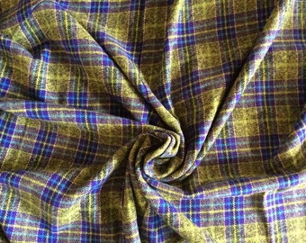 Flannel- Plaid- Cotton Flannel- Lime, Purple & Teal - Flannel Cotton-Scarf Fabric- Flannel Fabric- Apparel Fabric- Fabric by the Yard