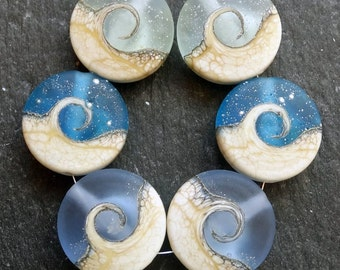 Lampwork Beads Sprees (6) Etched Ocean Wave Mix