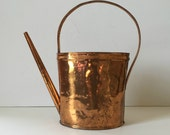 vintage hammered copper watering can, mid century