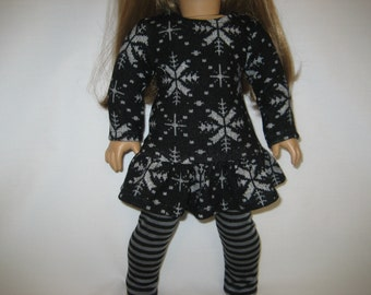 18  Inch  Doll Clothes - Black and Gray Snowflake Dress made to fit dolls such as American Girl, Maplelea, and Journey dolls