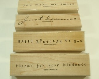 Simple Sayings II Wood Mounted Rubber Stamp Set From Stampin Up 100174 Happy Birthday, Thank You, Just Because, You Make Me Smile