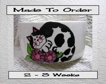 Black & White Cat In Flowers Pet Bowl With Paw Prints Inside Medium Handmade 20 Oz. Ceramic GMS