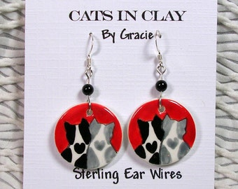 Love Cat Earrings Clay Handmade Round French Wire With Stone Bead by GMS