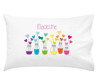 Rainbow Hearts Personalised Pillowcase