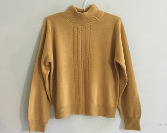 Tan knit sweater / mock turtleneck sweater oversized jumper