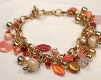 Golden Bead Drop Charm Bracelet, Ivory Bead Dangles, Freshwater Pearl Bracelet, Red and Gold Charm Bracelet, Golden Autumn Bracelet (B220)