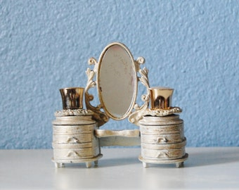 Vintage 1950s Florenza Perfume Bottle Set Figural Vanity Holder Rare Mirror Miniature
