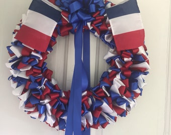 Wreath France Patriotic 18 inch Blue White Red Ribbon Wreath