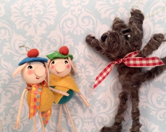 Big bad wolf ornament wolf doll vintage retro inspired shabby anthropomorphic toni kelly original fable story character