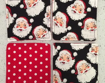 Drink Coasters - Set of 4 - Retro Santa