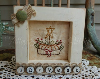 Decorative Harvest Framed Stitchery, Pumpkin, Star, Cheese Box, Fall, Fall Decor