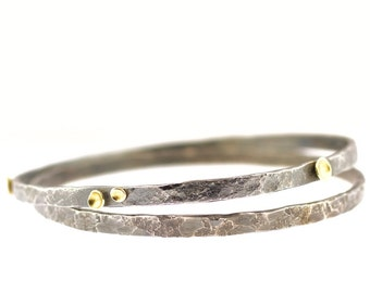 Lichen Bangle Set Sterling Silver 18 Karat Gold Recycled Metal DUO Set of TWO