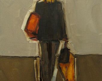 Abstract Art Figure Figurative Portrait Giclee Print Colette Davis - EXIT STRATEGY