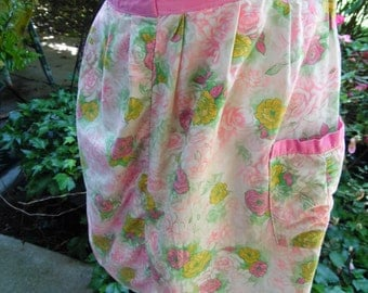 Vintage Pink and Yellow Floral Print Half Apron with One Pocket