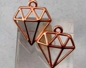 Diamond Charms, Rose Gold, 2 Pieces, RG26