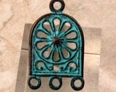 Greek Earring Connector, Chandelier, Green Patina, 2 Pieces, M437