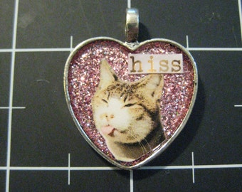 "Sassy Cat Pendant, ""Hiss"" 50% goes to the charity of the month"