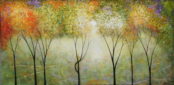 Landscape abstract forest woods greens and golds